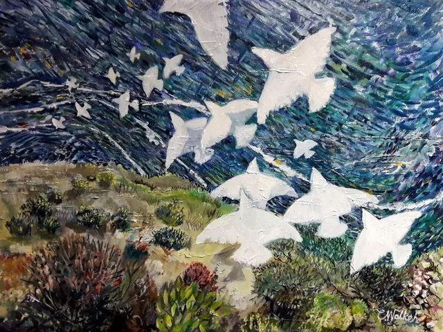 Chris Walker; Down On The Updraught, 2019, Original Painting Oil, 46 x 55 cm. Artwork description: 241 Voler sur le Courant Ascendant. Oil on Stretched Canvas  46cm x55cm . Doves glide down over the bluff. deep canvas, painted sides, ready to hang unframed. ...