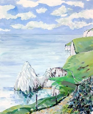 Chris Walker; Durdle Back Door, 2019, Original Painting Oil, 50 x 61 cm. Artwork description: 241 English landscape, Dorset, West Lulworth, Lulworth Cove.This coastal view was painted of the back side of Durdle Door, hence the title. The traditional view of the natural arch in the chalk cliff normally blinds from the viewers  memory the beautiful rolling scenery of the downs and ...