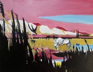 Chris Walker; The Alpilles From Crau, 2019, Original Painting Oil, 35 x 27 cm. Artwork description: 241 Oil on stretched canvas  35cm x27cmx 1. 7cm Carmargue bulls, white horses , flamingoes, reeds, rushes and stark stony hills. ...