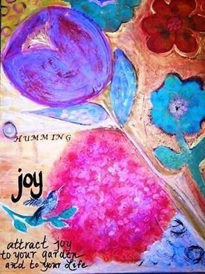 Cindy Kornet; Humming Joy, 2017, Original Painting Acrylic, 24 x 30 inches. Artwork description: 241 Floral, garde, beauty, Joy hummingbird...