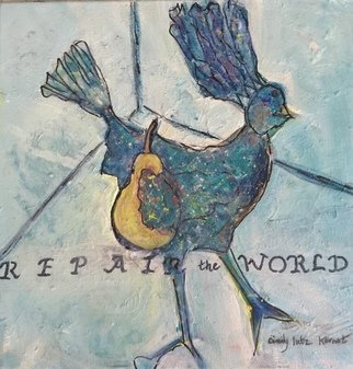 Cindy Kornet; Repair The World, 2020, Original Painting Acrylic, 12 x 12 inches. Artwork description: 241 Repair the world Pear and chicken ...