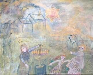 Cindy Kornet; Shtetyl, 2017, Original Painting Acrylic, 16 x 20 inches. Artwork description: 241 Chanukah, Judaic, Shtetyl, Light, menorah Mogen Dovig...