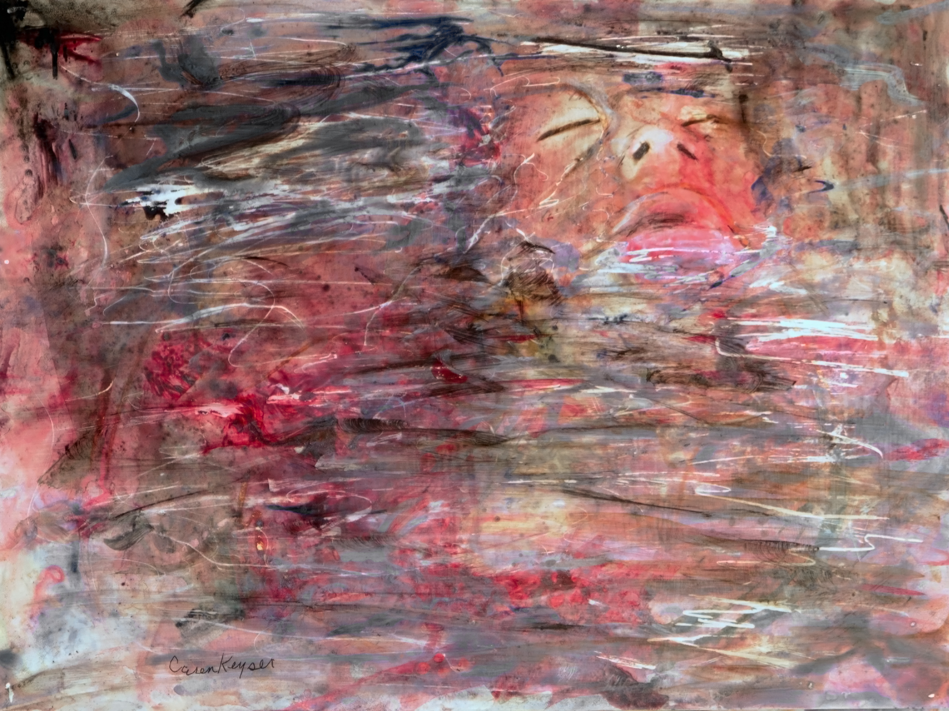Caren Keyser; Blood In The Water, 2015, Original Painting Acrylic, 12 x 11 inches. Artwork description: 241 The victim has drowned. Her face barely shows above the surface of the water.  It is a troubling image but suited to the number of serial killer novels I tend to read.  The subconscious shows itself in art. ...