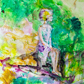 Caren Keyser, , , Original Painting Acrylic, size_width{Girl_on_a_Bench-1534957026.jpg} X 12 inches