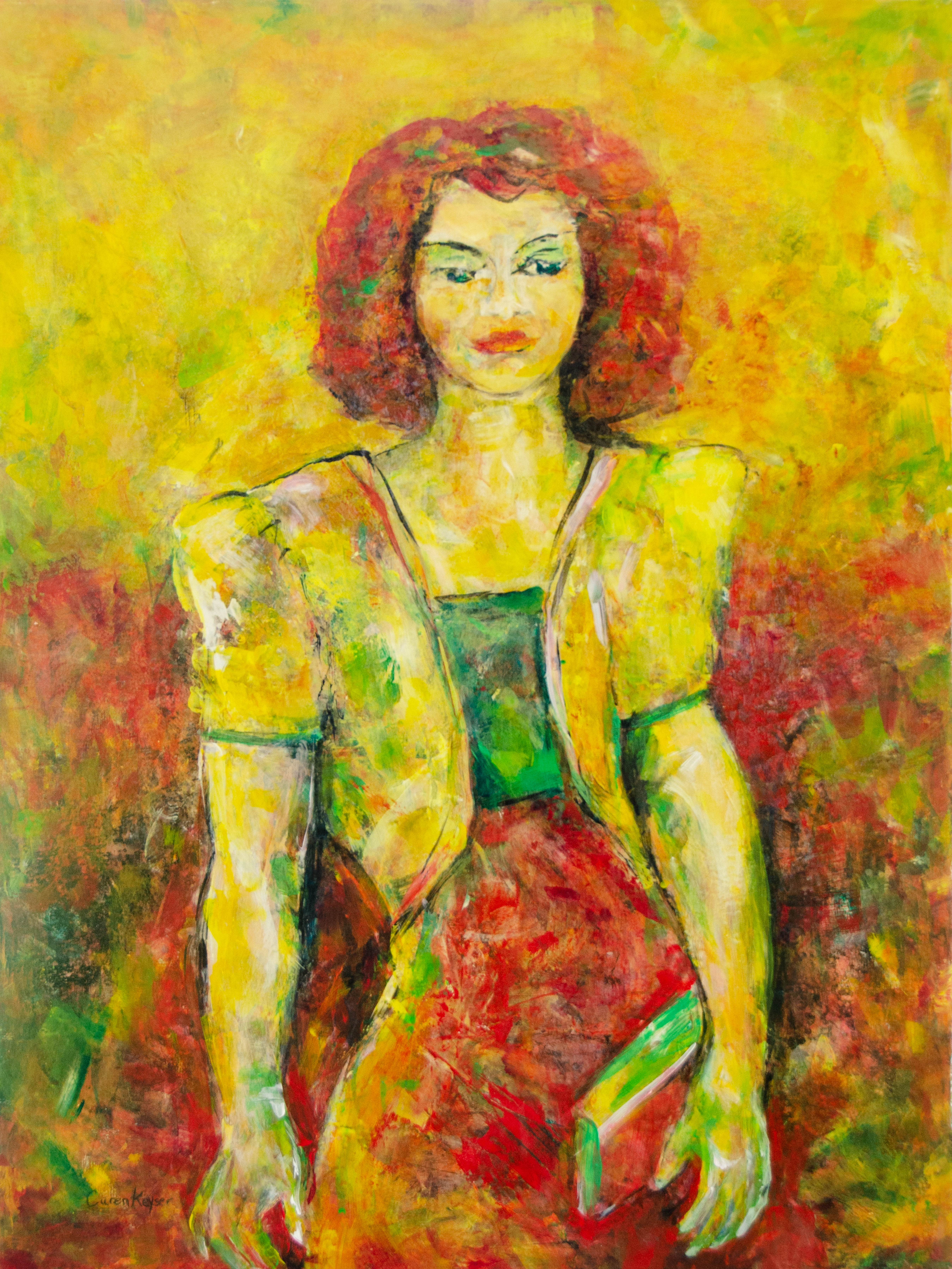 Caren Keyser; Yellow Jacket, 2018, Original Painting Acrylic, 18 x 24 inches. Artwork description: 241 This painting has grown out of many many layers of acrylic paint.  The woman is wearing a yellow jacket with padded shoulders and carrying a clutch purse.  Her red hair is in brilliant contrast to the yellow energetic background.  The lower red background abounds with interesting brush ...