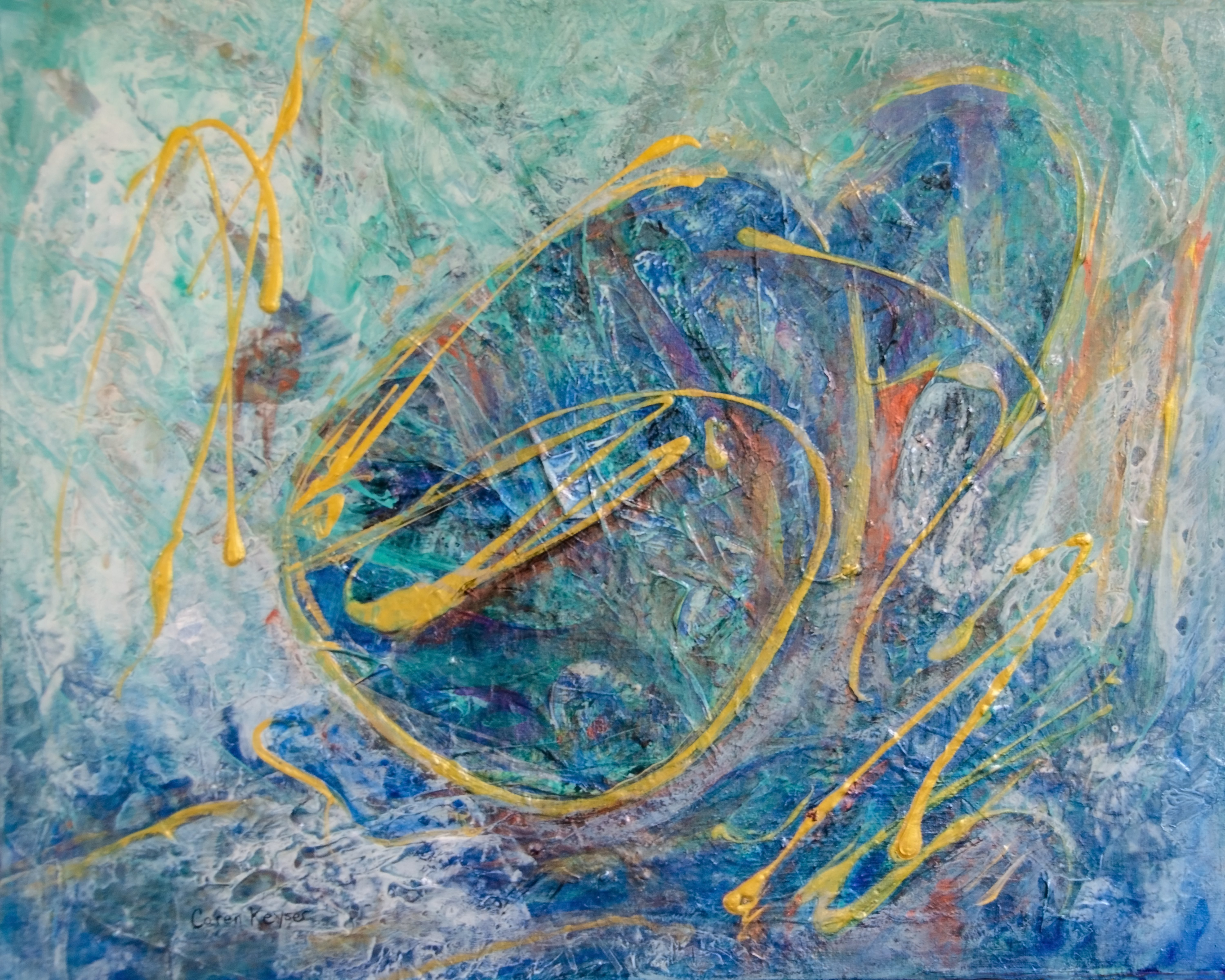 Caren Keyser; Blue Crouch, 2019, Original Painting Acrylic, 20 x 16 inches. Artwork description: 241 Metallic paints make this painting sing.  The figure is drawn in gold over shimmering blues. ...