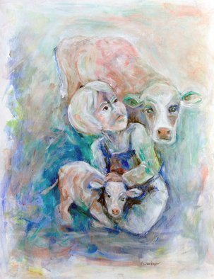Caren Keyser; Farm Boy, 2018, Original Painting Acrylic, 20 x 26 inches. Artwork description: 241 This young farm boy is sitting on the ground holding a young calf while the mother cow is watching closely over his shoulder.  This is a heart warming scene loosely painted in blues and other soft colors. ...