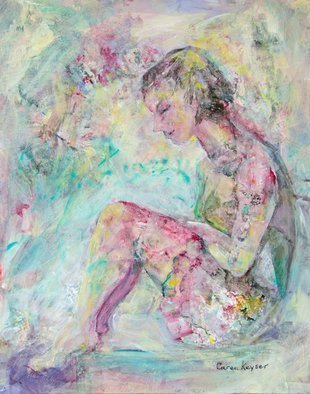 Caren Keyser; pensive, 2018, Original Painting Acrylic, 11 x 14 inches. Artwork description: 241 This girl in a short flirty skirt is sitting on a bench with her feet up looking very pensive.  Her thoughts have drifted away. ...