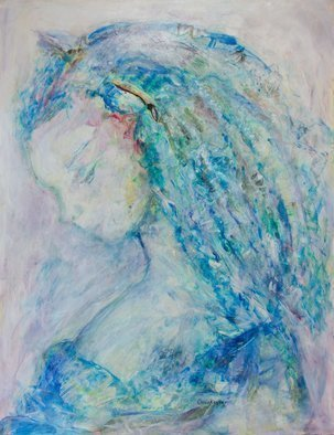 Caren Keyser; princess blue, 2017, Original Painting Acrylic, 20 x 26 inches. Artwork description: 241 Beautiful hair in a blue world frames the delicate features of this young princess. The painting is acrylic on Yupo, a plastic paper. The face was formed from paint running along the surface in the initial painting and then the girl was developed intuitively from the paint ...