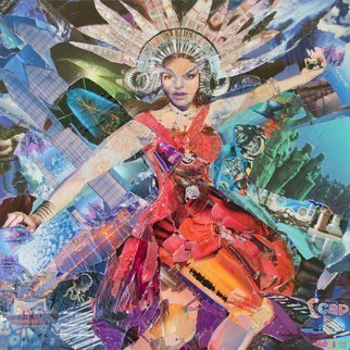 Caren Keyser; showgirl, 2017, Original Collage, 24 x 24 inches. Artwork description: 241 This magazine collage of a Showgirl overflows with glitz and glamor.  The background sizzles.  Look at the images from which the primary image is composed.  The original has a gloss finish that sparkles where the natural wrinkles of the paper applications reflect the light.  ...