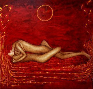 Claire Petit; Le Boire Amoureux, 2010, Original Painting Oil, 190 x 195 cm. Artwork description: 241      Oil on Canvas   or limited deluxe art print ( signed and numbered reproduction / comes with a Certificate of Authenticity / two size)  ...
