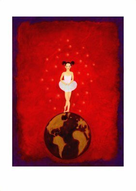 Claire Petit; Wait And See, 2010, Original Painting Oil, 160 x 200 cm. Artwork description: 241 Oil painting, canvas, ballerina, planet, red, or limited deluxe art print signed and numbered reproduction  comes with a Certificate of Authenticity  two size...
