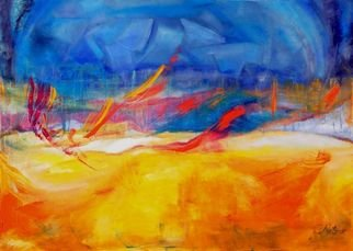 Clari Netzer; Awakening, 2010, Original Painting Oil, 70 x 50 cm. Artwork description: 241   oil on canvas, painting, abstract, day, night, blue, yellow, contemporary, modern, expressionist, landscape, nature...