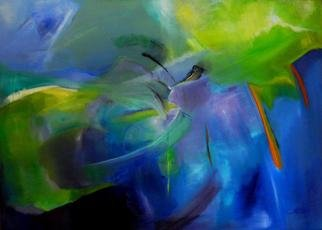 Clari Netzer; The Apple Has Always Been Blue, 2012, Original Painting Oil, 105 x 76 cm. Artwork description: 241     oil on canvas, contemporary, abstract, modern, expressionist, blue, apple, colorful, nature, woman    ...