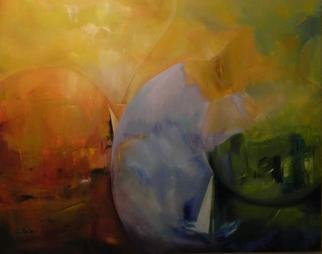 Clari Netzer; The Journey, 2012, Original Painting Oil, 150 x 120 cm. Artwork description: 241        oil on canvas, conceptual, abstract, contemporary, modern, expressionist, landscape, journey, blue, orange, green, colorful, circles, ship       ...