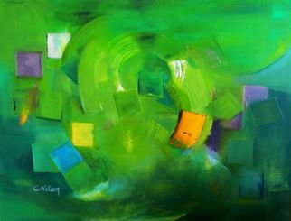 Clari Netzer; Things To Remember, 2013, Original Painting Oil, 120 x 90 cm. Artwork description: 241             oil on canvas, expressionist, abstract, painting, contemporary, modern, green, post notes, geometric, colorful            ...