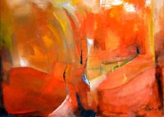 Clari Netzer; Composition In Red Nr 1, 2012, Original Painting Oil, 105 x 76 cm. Artwork description: 241            oil on canvas, contemporary, abstract, expressionist, modern, red, colorful           ...