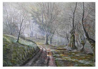 Chris Clarke; Selworthy Woods, 2011, Original Painting Acrylic, 20 x 16 inches. Artwork description: 241    english art/ art/ arts/ artists/ artist/ canvas/ pictures/ prints/ crafts/ paintings/ acrylic/ acrylics/ oils/ brushes/ gifts/ presents/ somerset/ english heritage/ national trust/ / cobbles/ thatch/ postcards/ greetings/ cards/ posters/ landscapes/ uk/ west country/ countryside/ arts and crafts/ shop/ home/ woods/ trees/ villages/ paths/ devon/ leaves/     ...