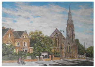 Chris Clarke; St Johns Church, Taunton, 2011, Original Painting Acrylic, 50 x 40 cm. Artwork description: 241  Churches/ temples/ ministry/ cathedral/ worship/ steeple/ tower/ old/ religous/ ston/ roof/ street/ english/ chapel/ monestries/ saints/ windows/ stained glass/ roads/ houses/ somerset/ west/ country/ british/ vestry/ wing/ god/ places/ urban/ cars/ art/ artist/ paintings/ canvas/ landscape/ galleries/ american/ us/ uk/ english/ medevil/ monks/ vicars/ priests/ choirs/ bells/...