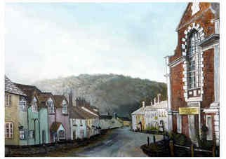 Chris Clarke;  West St Dunster, 2011, Original Painting Acrylic, 14 x 11 inches. Artwork description: 241   art/ arts/ artists/ artist/ oils/ canvas/ art work/ gallery/ galleries/ home/ / West country / streets/ morning/ sky/ skies/ sunset/ paintings/ sketches/ prints/ greetings cards/ frames/ landscapes/ pictures/ english/ somerset/ west country/ rural/ lanes/ boy/ / mums/ / ladies / shopping/ shops/ gifts/ presents/ sell/ historic/ Dunster/ old buildings/ tourist/ art/ artists/ ...