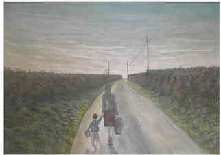 Chris Clarke; Walking Home, 2011, Original Painting Acrylic, 12 x 9 inches. Artwork description: 241  art/ arts/ artists/ artist/ oils/ canvas/ art work/ gallery/ galleries/ home/ walking/ country roads/ roads/ paths/ streets/ hedges/ grass/ banks/ trees/ evening/ sky/ skies/ sunset/ paintings/ sketches/ prints/ greetings cards/ frames/ landscapes/ pictures/ english/ somerset/ west country/ rural/ lanes/ boy/ children/ mums/ lady/ ladies walking/ shopping/ shops/ ...