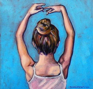 Clayton Jerome Singleton; Ballerina, 2010, Original Painting Acrylic, 12 x 12 inches. Artwork description: 241  art, painting, drawing, contemporary, paintings, drawings, portrait, painters, buy art, original, canvas paintings, modern art, ballerina, dance, girl, cute, blue, square, small, ready to hang, art works, famous art, curate create, clayton singleton, art dealers, sell art, movement ...