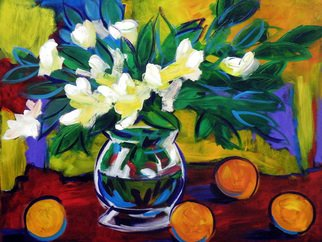 Clayton Jerome Singleton; Blue Leaf Daffodils, 2010, Original Painting Acrylic, 16 x 20 inches. Artwork description: 241  Acrylic on Board still life, art, painting, drawing, contemporary, paintings, drawings, portrait, painters, buy art, original, canvas paintings, modern art, ballerina, dance, girl, cute, blue, square, small, ready to hang, art works, famous art, curate create, clayton singleton, art dealers, sell art, movement  ...