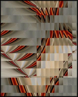 Cheryl Hrudka; 7736 orange cubism, 2018, Original Digital Drawing, 24 x 30 inches. Artwork description: 241 Contemporary, abstract, abstraction, cubism, original, limited edition, orange, grays, brown, red, tan, beige, texture...