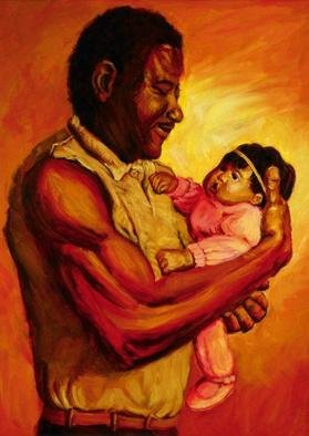 Lucille Coleman; Daddys Baby Girl, 2003, Original Painting Oil, 18 x 24 inches. Artwork description: 241 Father cuddles baby. Spotlight effect gives painting its own light even in a dim room.A(c) 2003 Lucille Coleman...