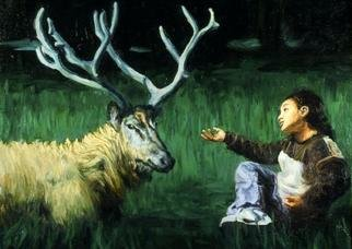 Lucille Coleman; Deer Talk, 2003, Original Painting Oil, 18 x 24 inches. Artwork description: 241 A whimsical painting whose fantasy theme is a deer indulging a loquacious child.A(c) 2003 Lucille Coleman...