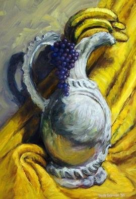 Lucille Coleman; Grapes Bananas Vase Still Life, 2003, Original Painting Oil, 12 x 17 inches. Artwork description: 241 Still Life of fruit in a vase with a sensuously cloth draped background in the artists signature painterly style.A(c) 2003 Lucille Coleman...