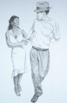 Lucille Coleman; Graphite Two Hand Hold Sa..., 2003, Original Drawing Pencil, 24 x 36 inches. Artwork description: 241 Black and white graphite drawing of salsa dancers. A(c) 2003 Lucille Coleman...