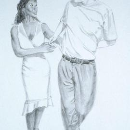 Lucille Coleman, , , Original Drawing Pencil, size_width{Graphite_Two_Hand_Hold_Salsa_Dance-1500604282.jpg} X 36 inches