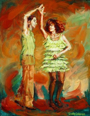Lucille Coleman; Green Spinner, 2006, Original Painting Oil, 11 x 14 inches. Artwork description: 241 Salsa Dance Painting from mySMALL WORKS SERIES.Also See paintings Drop and Jumpstreet in the small works series. ...