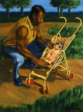 Lucille Coleman; Man Tending Baby, 2003, Original Painting Oil, 18 x 24 inches. Artwork description: 241 A father lovingly tends to his baby during a walk in the park. A strong man and a little soft baby juxtaposed reveals a refreshing and strong contrast.A(c) 2003 Lucille Coleman...