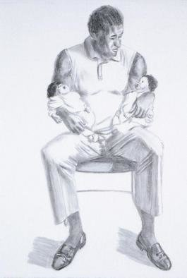 Lucille Coleman; Man And Two Babes, 2003, Original Drawing Pencil, 18 x 24 inches. Artwork description: 241 A(c) 2003 Lucille Coleman...