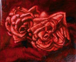 Lucille Coleman; Roses, 2003, Original Painting Oil, 11 x 12 inches. Artwork description: 241 Study of red roses created in a cross hatch style painting style.A(c) 2003 Lucille Coleman...