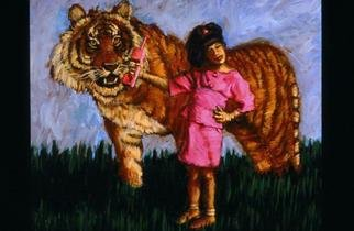 Lucille Coleman; Tiger Talk, 2003, Original Painting Oil, 18 x 24 inches. Artwork description: 241 A whimsical painting whose theme is the fantasy life of a child.A(c) 2003 Lucille Coleman...