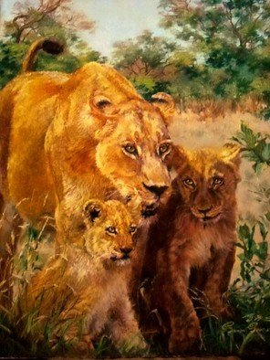 Sonja Grobler; A Mothers Pride, 2013, Original Painting Oil, 89 x 58 cm. Artwork description: 241  Female Lioness with her two cubs  ...
