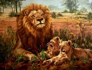 Sonja Grobler; King Of The Bushveld, 2013, Original Painting Oil, 122.5 x 91.5 cm. Artwork description: 241  Male lion with two lion cubs ...
