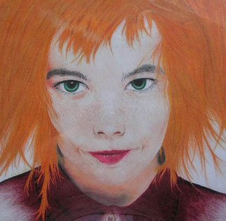 Nicole Morris; Bjork, 2000, Original Drawing Pencil, 18 x 12 inches. Artwork description: 241  This was drawn from a picture using colored pencils. ...