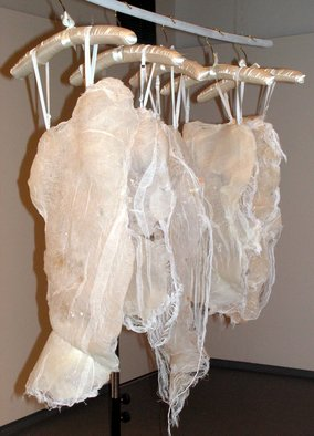 Nicole Morris; Silicone Bodices, 2004, Original Sculpture Mixed, 1 x 3 feet. Artwork description: 241  These delicate pieces are silicone and cheesecloth casts made from original body molds. They hang on silk hangers. This series of lingerie has been continued using caulking as well. ...