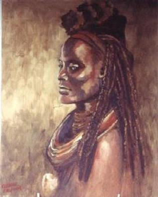 Colleen Balfour; Himba Woman , 2000, Original Painting Oil, 24 x 31 inches. Artwork description: 241 Oil on BoardHimba Woman - of the Himba tribe of Namibia, formerly South West Africa, in traditional dress comprised of skins, and adornments made of leather, metal and shells. The large conch shell being a prized item.   ...