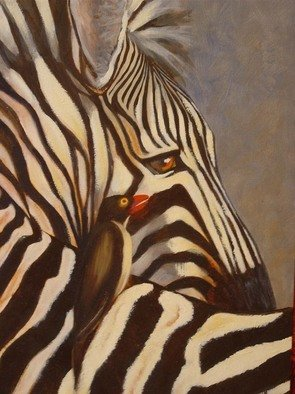 Colleen Balfour; Lone Rider, 2008, Original Painting Oil, 406 x 610 mm. Artwork description: 241  Africa, animal, zebra, bird, black and white ...