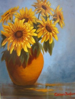 Colleen Balfour; Summer Flowers, 2014, Original Painting Oil, 18 x 20 inches. Artwork description: 241 The strong sunshine colours of the Sunflower and blue and terracotta tones are the colours of summer in South Africa....