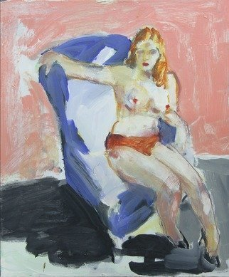 Colleen Ross; nude in blue, 2017, Original Painting Acrylic, 20 x 24 inches. Artwork description: 241 Nude sitting on blue chair in art studio...
