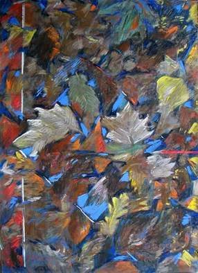 Bernard Collet; Leaves Around An Icon Of Sky, 2005, Original Pastel, 60 x 80 cm. Artwork description: 241  the fallen sheets still have some embers ...