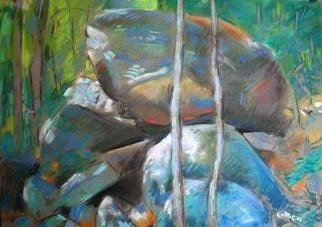 Bernard Collet; Painted Rocks, 2007, Original Pastel, 65 x 45 cm.