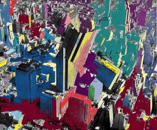 Marc Rubin; Manhattan Earthquake 2, 2007, Original Digital Art, 24 x 20 inches. Artwork description: 241 Giclee print on archival paper with pigment inks. 1