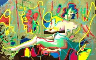 Marc Rubin; Reclining Nude After Mati..., 2008, Original Digital Art, 18 x 10 inches. Artwork description: 241 Giclee print on archival paper with pigment inks.  Based on 1910 French photograph by Mandel. With 1